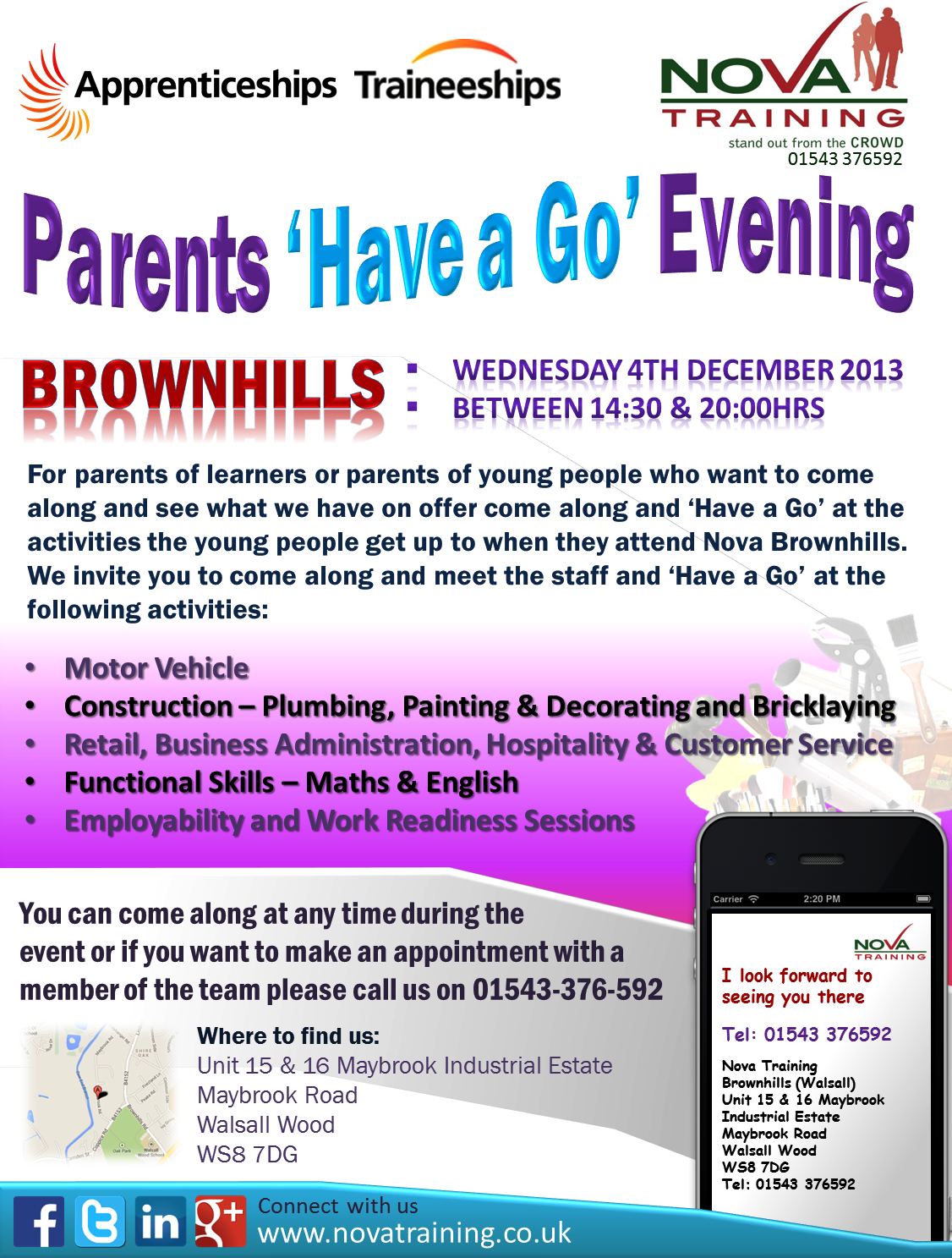 Parents 'Have a Go' Evening in Brownhills on Wednesday 4th December 2013