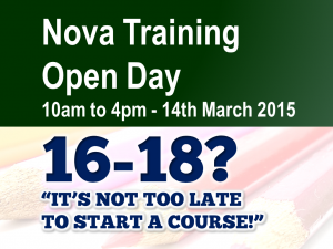 Open Day - Aged 16-18 - Saturday 14th March 2015