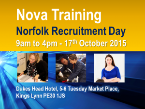 Nova Training, Norfolk Recruitment Day 9am to 4pm – 17th Oct 2015