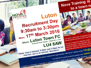 Nova Training Recruitment Open Day - Thursday 17/03/2016 at Luton Town FC