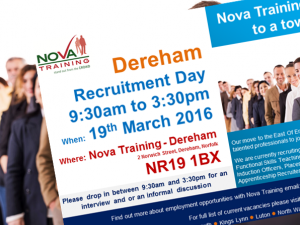 Nova Training Recruitment Open Day -  Saturday 19/03/2016 at Nova Training Centre in Dereham