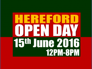 Hereford - OpenDay‬ - Wednesday 15th June from 12pm to 8pm