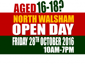 North Walsham on FRIDAY 28th OCTOBER 2016 from 10am to 7pm.