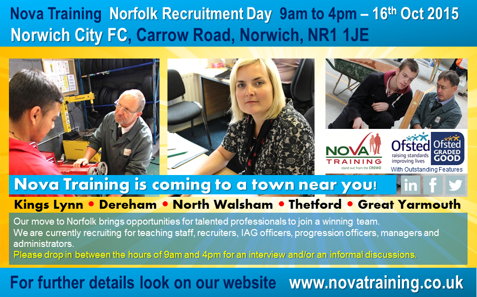 Nova Training, Norfolk Recruitment Day 9am to 4pm – Thursday 16th Oct 2015