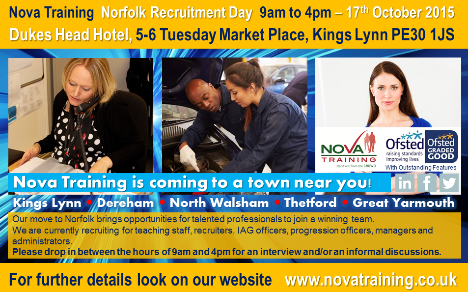 Nova Training, Norfolk Recruitment Day 9am to 4pm – Friday 17th October 2015